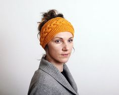 Mustard yellow Knitted Headband Ear Warmer braid Cable by mareshop, $26.00