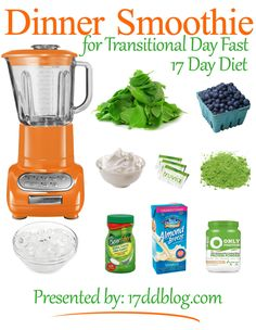 Dinner Smoothie Recipe for the 17 Day Diet Transitional Day Fast (pin for recipe)