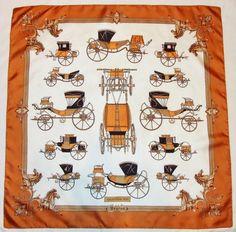 "Vintage BAYRON XIX CALECHES Antique CARRIAGES Orange Brown Black Silk 36"" Scarf"