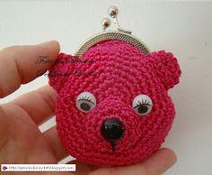 * Pérolas do Crochet: Porta-moedas em croche. Ursinha pink