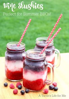 Raspberry and Blueberry Wine Slushies that are perfect for 4th of July, Memorial Day or any summer picnic! So delicious and easy to make!