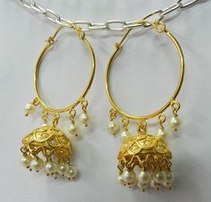6c52986b025 Pearl White Roundel Beads Gold Plated Silver Jhumkas