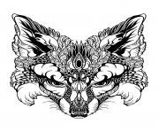 Print advanced animal fox head coloring pages