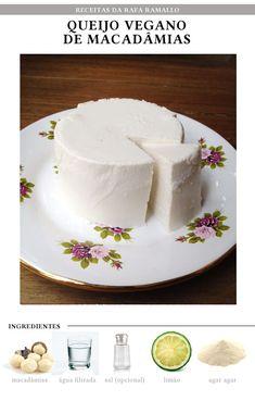 Queijo de macadâmia Lactose Free Recipes, Raw Food Recipes, Veggie Recipes, Food Network Recipes, Gourmet Recipes, Healthy Recipes, Going Vegetarian, Going Vegan, Raw Cheese