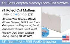"4.5"" East Hampton Memory Foam Cot Mattress - customizable cot mattresses for bunk room"