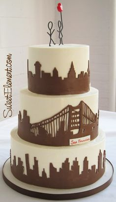 City Skyline Wedding Cake-New York, San Fran and Copenhagen Nyc Cake, City Cake, New York Kuchen, Copper Wedding Cake, New York Cake, Silhouette Cake, Cake Writing, Occasion Cakes, Cupcake Cookies