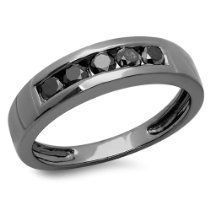 0.75 Carat (ctw) Sterling Silver Real Black Round Diamond Men's Channel Set 5 Stone Wedding Band 3/4 CT 1.25 Carat (ctw) Sterling Silver Princess & Round Black Diamond Bridal 3 Stone Engagement Ring 1 1/4 CT