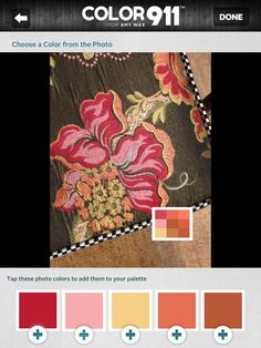 I started with this beautiful fabric and pulled out the colors I liked the most, then shopped for items to match the colors I chose. The Color911 app. Fun, easy to use and incredibly helpful!  Check out Color911.com #DIY #Color #Fashion #Decor