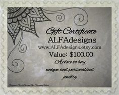 100 Dollars Gift Certificate to ALFAdesigns Jewelry by ALFAdesigns