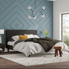 -Delve Upholstered Platform Bed Wall Treatment See it Bedroom Wall Designs, Accent Wall Bedroom, Master Bedroom Wood Wall, Angled Ceiling Bedroom, Feature Wall Bedroom, Bedroom Fireplace, Home Bedroom, Bedroom Furniture, Bedroom Decor