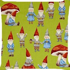 cushion cover throw pillow case 18 inch retro vintage Christmas gnome fairy couple lantern mushroom garden forest cute both sides image zipper by Pillow Cover * Be sure to check out this awesome product.