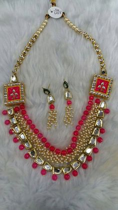 Beautiful Indian kundan necklace sets with Pearls, Free Shipping Worldwide by Shopeastwest on Etsy Necklace Set, Beaded Necklace, Indian, Free Shipping, Pearls, Chain, Stuff To Buy, Etsy, Beautiful