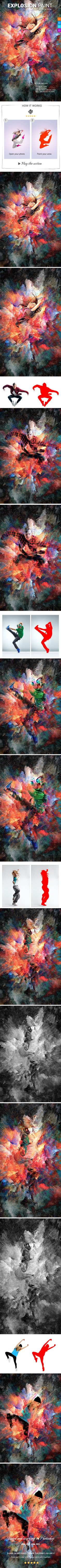 #Explosion Paint Photoshop Action - #Photo #Effects #Actions
