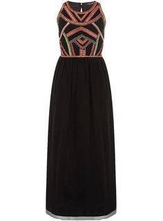 Black maxi dress with coloured embelishment design on bodeice and self ties