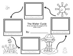 Water Cycle FREEBIE! Enjoy. :) After discussing the water cycle, students can illustrate each stage, practice the spelling of the words, and colorevaporation: draw squiggles to symbolize water changing from a liquid to a gascondensation: draw clouds, add little dots to symbolize water dropletsprecipitation: draw rain, sleet, snow, hailcollection: brainstorm bodies of water that the precipitation can run off into and collect-  examples: ocean, river, pondThis could be a good center activity…