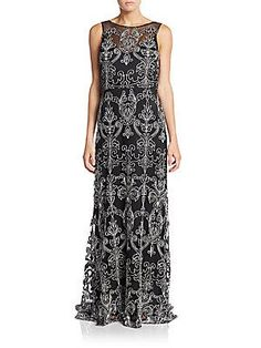 Vera Wang Filigree-Embroidered Gown - Black - Ivory - Size