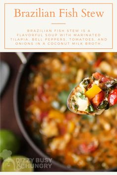 The best fish stew recipe made in one pan #dizzybusyandhungry #fishstew #familymeals #comfortfood #tilapia #onepan Quick Soup Recipes, Seafood Soup Recipes, Dinner Recipes, Healthy Recipes, Brazilian Fish Stew, Slow Cooker Recipes, Cooking Recipes, Easy Family Meals, Tilapia