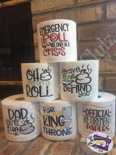 The Latest Trend in Embroidery – Embroidery on Paper - Embroidery Patterns Retirement Gifts For Men, Diy Gifts For Dad, Diy Father's Day Gifts, Father's Day Diy, Homemade Fathers Day Gifts, Funny Fathers Day Gifts, Toilet Paper Humor, Toilet Paper Crafts, Toilet Humour