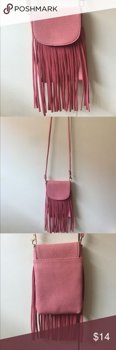 Women's bohemian fringe cross body bag New!! Women's pink fringe cross body bag! Bags Crossbody Bags