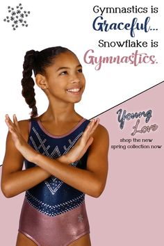 Snowflake Designs has been creating cute and unique gymnastic leotards for girls and boys, competition leotards, and gymnastics clothes for over 35 years. Our leotards are known for their great fit (no more leotard wedgies!), high-quality construction, custom fabrics, and unique designs. We design workout leotards, competition leotards, warm-up suits, and other custom athletic clothing for recreational and competitive gymnasts. Gymnastics Clothes, Gymnastics Leotards, Amazing Gymnastics, Girls Leotards, Gymnasts, Snowflake Designs, Athletic Outfits, Spring Collection, Dance Wear