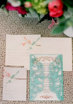 bird theme, a enchanted forest wedding, or a garden wedding, something outside, these invitations are beautiful.     walking on sunshine:)
