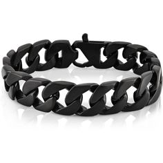 West Coast Jewelry Crucible Black Plated Stainless Steel Brushed... ($32) ❤ liked on Polyvore featuring men's fashion, men's jewelry, men's bracelets, bracelets, black and mens stainless steel bracelets