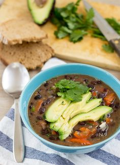 Mexican inspired Vegan Black Bean Soup. Ready in 20 minutes | #dinner #vegan | hurrythefoodup.com