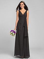 Lanting Floor-length Chiffon Bridesmaid Dress - Black Plus Sizes / Petite Sheath/Column V-neck