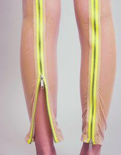 mesh leggings w/ neon zipper