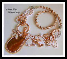 #sutasz #soutache #biżuteria Naszyjnik sutasz z agatem Skarby Ewy... Biżuteria sutasz