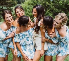 Bridesmaid Getting Ready Outfit Trends | Floral Off The Shoulder Romper