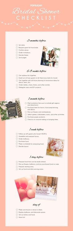 I don't think that a Bridal Shower needs to be this detailed, but a checklist is still nice nonetheless.