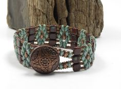 SUPER DUO TILE Bracelet - Umber Picasso - Chalk Green Luster - Copper Button - Copper Czech Seed Beads - Tile Flower Bracelet by CinfulBeadCreations on Etsy