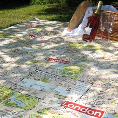 A large picnic blanket with a playful London Map design. Absolute fab especially this year with the Oympic Games