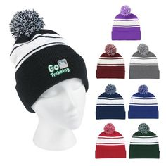 f26b6113b2fef Pom Top wide stripe embroidered winter hat with logo - custom winter hats  Company Logo