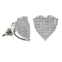 Diamond Heart Shape Women Stud Earrings in 10k White Gold (0.33 ctw)