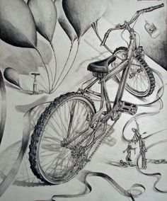 Media: Pencil 16x 20 White Drawing Paper Walk around the room and sketch 3 thumbnail sketches of the bicycle still life. Using composition and your imagination, create a visual story of the bicycl…