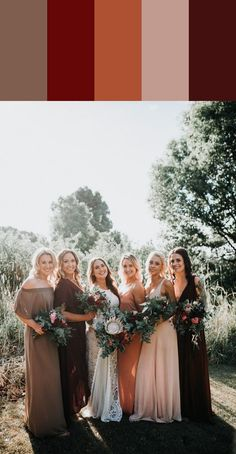 13 Mismatched Bridesmaids Dress Color Palettes to Use Throughout Your Wedding Autumnal bridesmaid style filled with neutral and wine tones Mismatched Bridesmaid Dresses, Burgundy Bridesmaid Dresses, Wedding Bridesmaid Dresses, Autumn Bridesmaids, Bridesmaid Color, Bridesmaids In Different Dresses, Wedding Gowns, Patterned Bridesmaid Dresses, Bohemian Bridesmaid