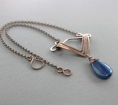 Copper necklace in geometrical art deco design with by IngoDesign
