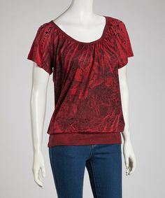 Take a look at this Maroon Studded Angel-Sleeve Top by Katydid Collection on #zulily today! $22 !!