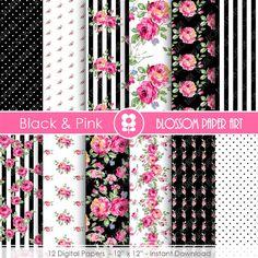 Pink and Black Digital Paper Floral Digital by blossompaperart