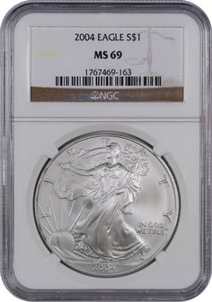 This 2004 Silver Eagle MS69, is a popular coin for investors and collectors alike! This coin has a face value of one US dollar.  Each coin is 99.9% pure silver.The obverse features Adolph A. Weinman's Liberty Walking design used on the half dollar coins from 1916 to 1947. The reverse has John Mercanti's design of a heraldic eagle. Since 1986, the US Mint's West Point has made Silver American Eagle Coins in both proof and mint state finishes (with the exception of 2009 when no proof was…