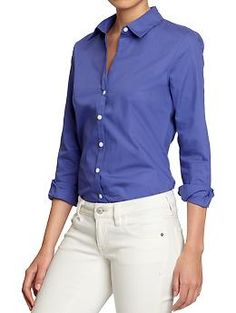 Womens Poplin-Stretch Dress Shirts - Dress for success in this versatile button-front shirt. Smooth cotton poplin includes a touch of stretch for a perfectly tailored fit, while the sharp pointed collar and double-button cuffs keep you poised for business. . .or pleasure.  I defenitely need this - at least one in white, but pink would be nice too