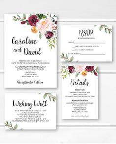 Wedding invitation printable wedding invitations set, burgundy floral wedding invites, greenery wedding invite ideas from Pink Summer Designs on Etsy