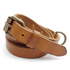 (JPB035-LIGHTBROWN) Casual Leather Belt from W29 to W32