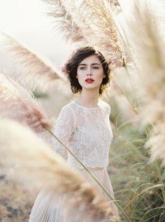 this modern romance,red lips,blush wedding dress,taupe wedding,lace sleeves wedding dress