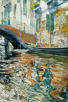 """canal accademia (3) 40"""" x 26"""" micheal zarowsky / watercolour on arches paper (private collection)"""