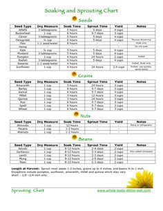Soaking & Sprouting chart for grains, seeds, nuts, beans
