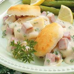 After-Holiday Ham on Biscuits Recipe - uses leftover ham and hard-cooked eggs to good use.