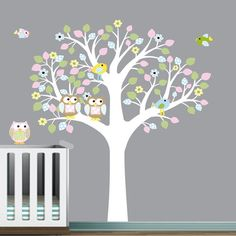 Vinyl Wall Decal Stickers Patterned Leaf Tree Owls Bird